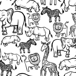 Black Ink Animals on White - Medium Scale Print
