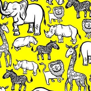 Black Ink Animals on Yellow