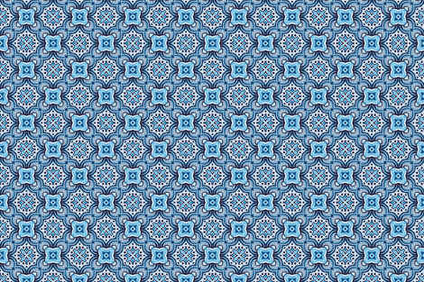 turkish tile in turquoise fabric by ruth_cadioli on Spoonflower - custom fabric