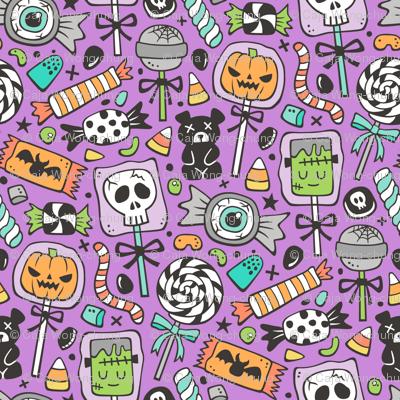 Trick or Treat Halloween Fall Candy on Dark Purple