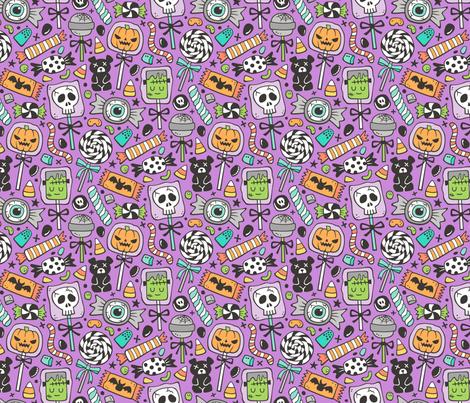 Trick or Treat Halloween Fall Candy on Dark Purple fabric by caja_design on Spoonflower - custom fabric