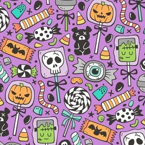 Trick or Treat Halloween Fall Candy on Dark Purple