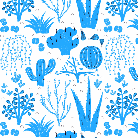 Cacti & succulent collection // blue fabric by ruth_robson on Spoonflower - custom fabric