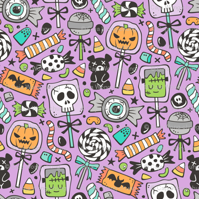 Trick or Treat Halloween Fall Candy on Purple
