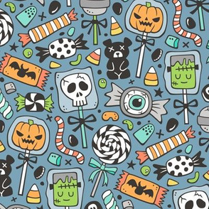 Trick or Treat Halloween Fall Candy on Dark Blue Navy