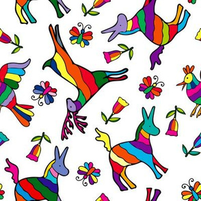 Rainbow Animals, Mexican Otomi Donkey, Chicken, Deer, Butterflies and Flowers