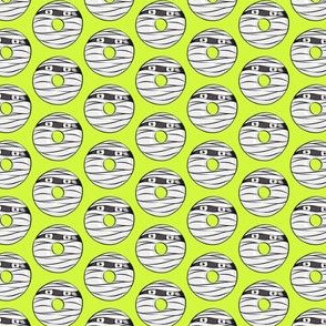 (small scale) mummy donuts - lime - halloween fabric C18BS