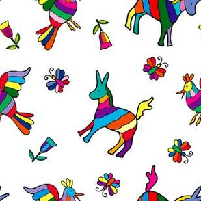 Mexican Rainbow Animals, Otomi Donkeys and Chickens, Butterflies and Flowers