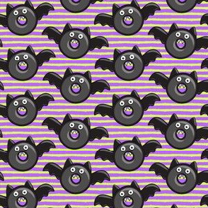 (small scale) bat - vampire - halloween donuts on purple and green stripes C18BS
