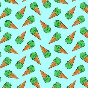 (small scale) trex icecream cones - dinosaur ice cream - toss on light blue C18BS