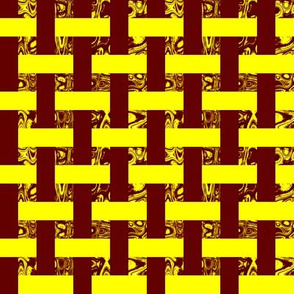 CD40  - Woven Abstract Window Gallery in Lemon Yellow and Reddish Brown