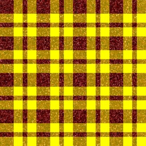CD40  - Large  Rusty Red Sparkle and Sunny Yellow Plaid