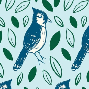 Block printed blue jay