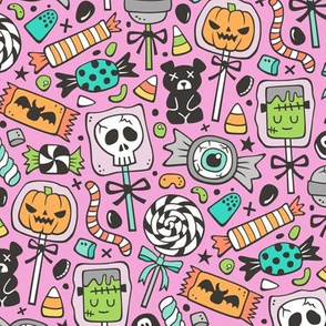 Trick or Treat Halloween Fall Candy on Pink