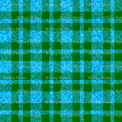 CD42 - Dew-on-the-Grass Green and Summer Sky Sparkle Plaid