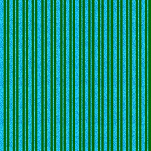 CD42 - Mini Dew-on-the-Grass Green and Summer Sky Sparkle Stripes