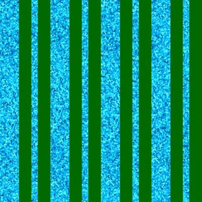 CD42 - Large Dew-on-the-Grass Green and Summer Sky Sparkle Stripes
