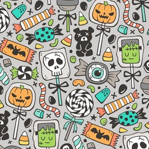 Trick or Treat Halloween Fall Candy on Light Grey