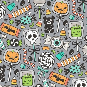 Trick or Treat Halloween Fall Candy on Dark Grey