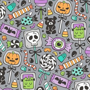 Trick or Treat Halloween Fall Candy Purple on Dark Grey