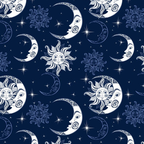Sun moon and stars. Space background. Night sky.