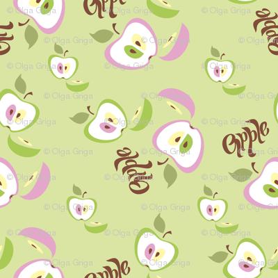 Apple background. Lettering. Fruit.