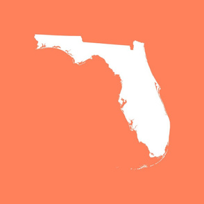 "Florida silhouette - 18"" white on coral"