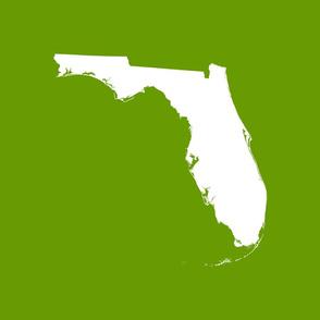 "Florida silhouette - 18"" white on leaf green"