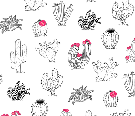 cactusPattern.20in.150dpi.2 fabric by thelazygiraffe on Spoonflower - custom fabric