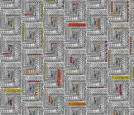 Doodled Log Cabin fabric by leethal on Spoonflower - custom fabric