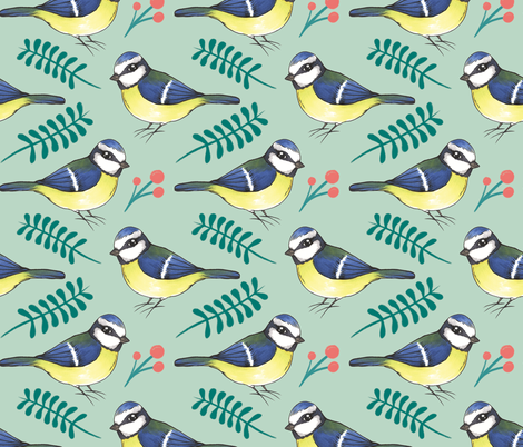 Eurasian Blue Tit fabric by charladraws on Spoonflower - custom fabric