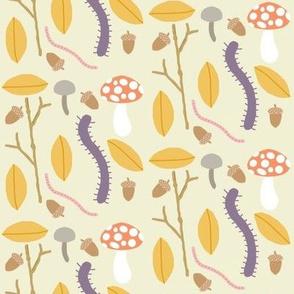 forest floor crawlies on beige
