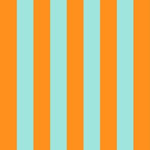 orange and light teal stripes 2in :: halloween vertical