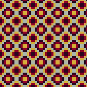 Check pattern, red,burgundy, and yellow