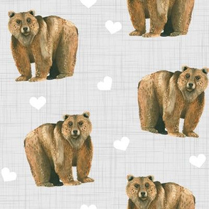 Bears and Hearts on Linen