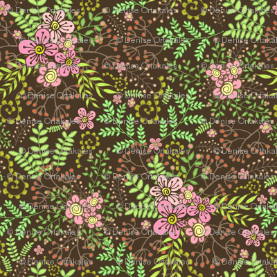 Berries & Blossoms - Brown