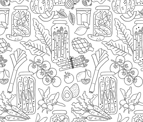 Fresh vegetables and pickled veggies coloring fabric by heleen_vd_thillart on Spoonflower - custom fabric