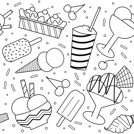 Ice Cream Party Black & White fabric by vintage_style on Spoonflower - custom fabric