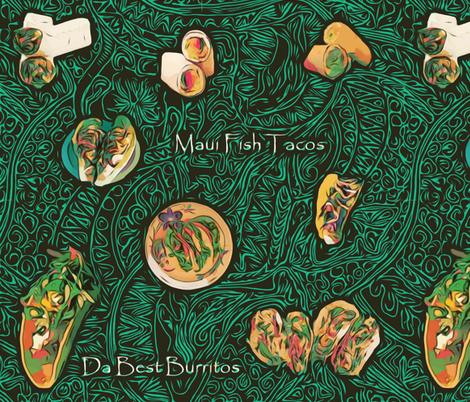 Hawaiian Tacos and Burritos Da Best! by kedoki fabric by kedoki on Spoonflower - custom fabric