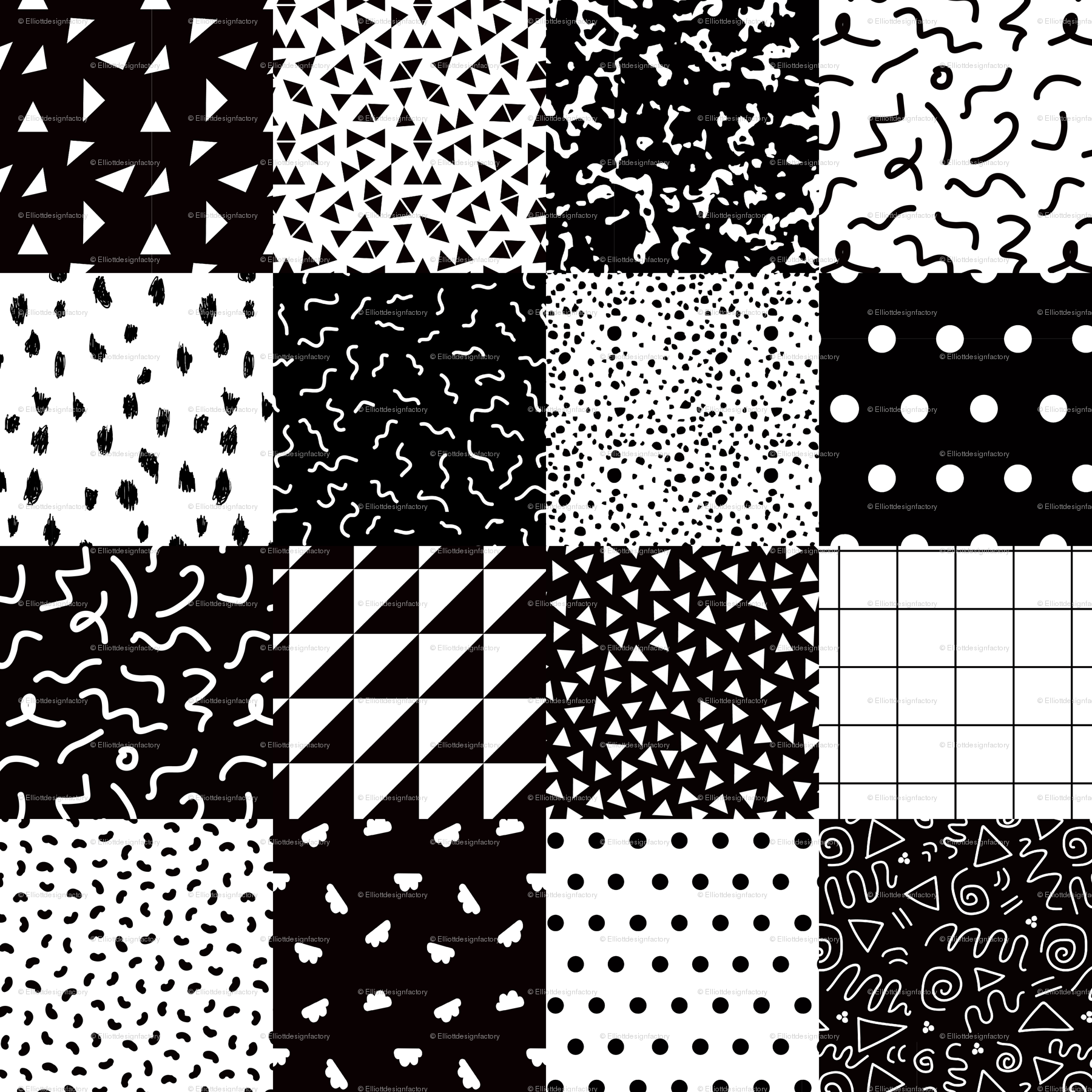 Black white postmodern cheater quilt fabric elliottdesignfactory spoonflower