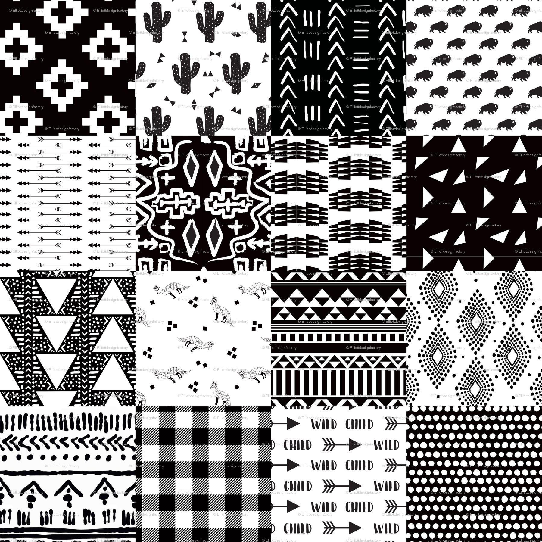 Black white southwestern baby cheater quilt fabric elliottdesignfactory spoonflower