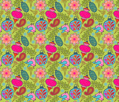 Boho Baubles - Lime fabric by denise_ortakales on Spoonflower - custom fabric