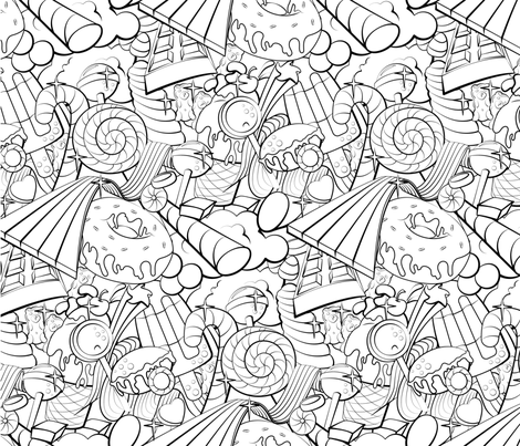 Candy colouring book fabric by roofdog_designs on Spoonflower - custom fabric