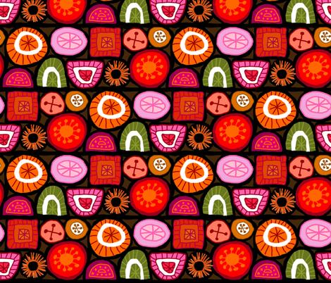 Boho Florals - Black fabric by denise_ortakales on Spoonflower - custom fabric