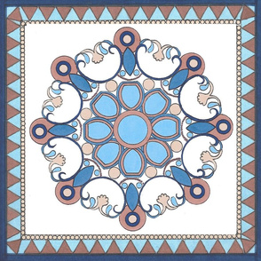 Blue and White Bohemian inspired Medallion