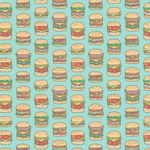 Hamburgers Junk Food Fast food on Mint Green Tiny Small 1 inch