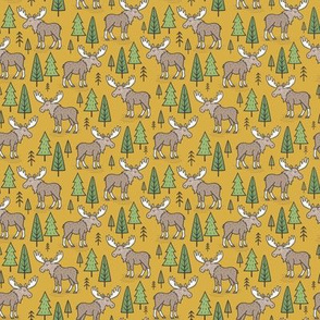 Forest Woodland Moose & Trees on Mustard Yellow Tiny Small 1 inch