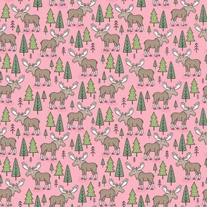 Forest Woodland Moose & Trees on Pink Tiny Small 1 inch