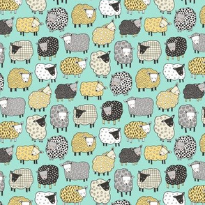 Sheep Geometric Patterned Black & White Grey  Yellow on Mint Green  Tiny Small 1 inch