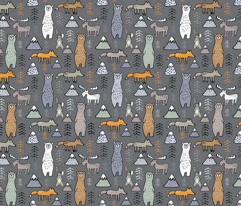 autumn bear mountain on grey fabric by gemmacosgroveball on Spoonflower - custom fabric